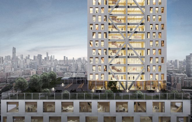 Exterior rendering of office and residential levels of Proto-Model X, Sidewalk Labs' prototypical timber building. Image Michael Green Architecture and Gensler